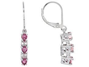 Pink Rubellite Sterling Silver Dangle Earrings .90ctw