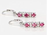 Pink Rubellite Sterling Silver Dangle Earrings .90ctw