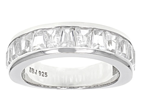 White Zircon Sterling Silver Band Ring 2.73ctw