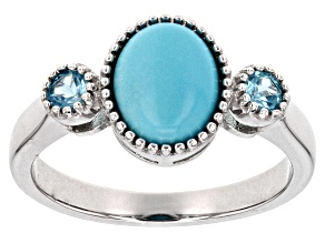 Blue Turquoise Silver Ring .22ctw