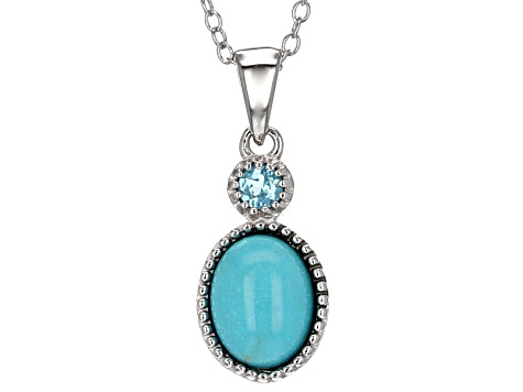 Blue Turquoise Silver Pendant With Chain .11ct
