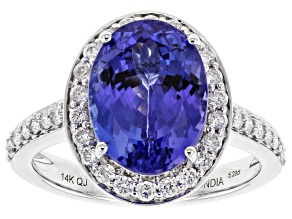 Blue Tanzanite Rhodium Over 14k White Gold Ring 5.44ctw