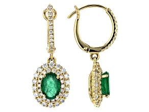 Green Emerald 14k Gold Dangle Earrings 2.24ctw