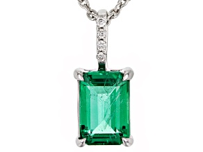 Green Emerald Rhodium Over 18k White Gold Pendant With Chain .84ctw