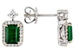 Green Emerald Rhodium Over 18k White Gold Earrings 2.36ctw