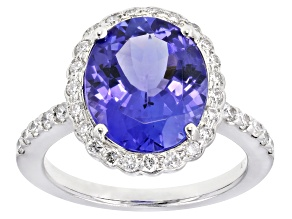 Blue Tanzanite Rhodium Over 18k White Gold Ring 4.89ctw