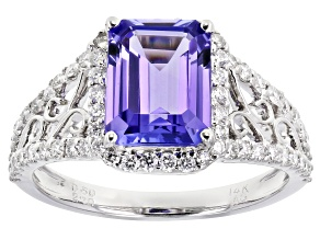 Blue Tanzanite Rhodium Over 14k White Gold Ring 2.60ctw
