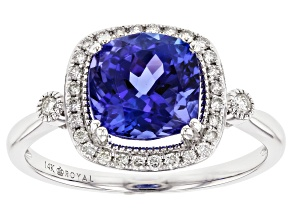 Blue Tanzanite Rhodium Over 14k White Gold Ring 2.78ctw