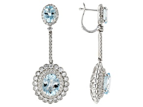 Blue Aquamarine Rhodium Over 14k White Gold Dangle Earrings 9.30ctw