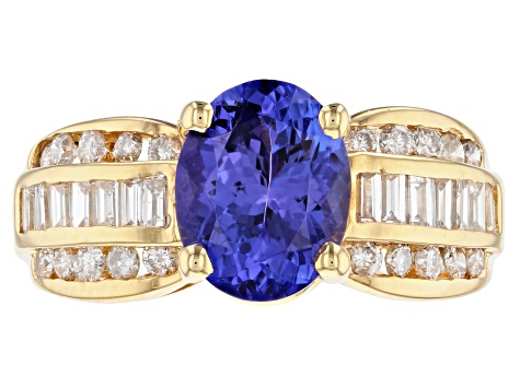 Blue Tanzanite 14k Yellow Gold Ring 3.65ctw