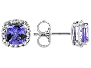 Blue Tanzanite Rhodium Over 18k White Gold Earrings 1.44ctw