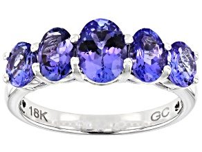 Blue Tanzanite Rhodium Over 18k White Gold Band Ring 2.30ctw