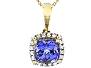 Blue Tanzanite 18k Yellow Gold Pendant With Chain 1.35ctw