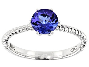 Blue Tanzanite Rhodium Over 18k White Gold Solitaire Ring 1.00ct