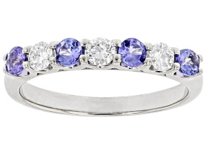 Blue Tanzanite Rhodium Over 18k White Gold Band Ring .80ctw