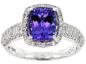 Blue Tanzanite Rhodium Over 18k White Gold Ring 2.22ctw