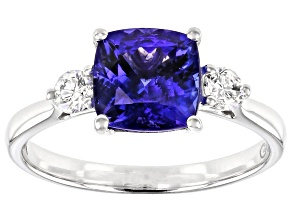 Blue Tanzanite Rhodium Over 18k White Gold Ring 1.94ctw