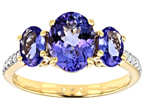 Blue Tanzanite 18k Yellow Gold Ring 2.65ctw