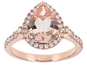 Pink Cor De Rosa Morganite 14K Rose Gold Pear Ring. 3.37ctw