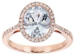 Blue Aquamarine 14k Rose Gold Ring 2.46ctw