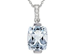 Blue Aquamarine Rhodium Over 14K White Gold Pendant With Chain. 2.53ctw.