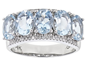 Blue Aquamarine Rhodium Over 14K White Gold Ring. 3.63ctw