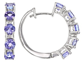 Blue Tanzanite Rhodium Over 18K White Gold Hoop Earrings 1.65ctw