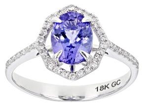 Blue Tanzanite Rhodium Over 18K White Gold Ring 1.65ctw
