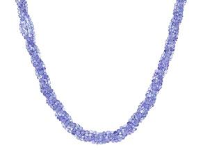 Blue Tanzanite Rhodium Over 18K White Gold Necklace 160.00ctw