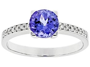 Blue Tanzanite Rhodium Over 18K White Gold Ring 1.60ctw
