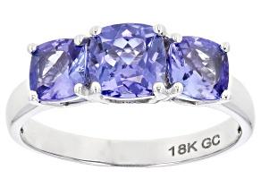 Blue Tanzanite Rhdoium Over 18K White Gold 3-Stone Ring 2.05ctw