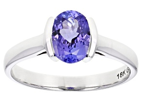 Blue Tanzanite Rhodium Over 18K White Gold Solitaire Ring 1.25ct
