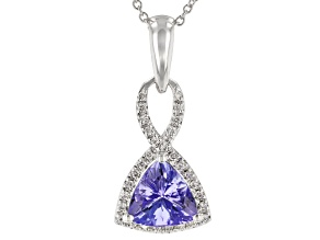 Blue Tanzanite Rhodium Over 18K Gold Pendant With Chain 1.09ctw