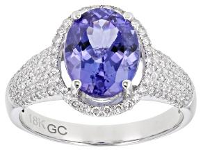 Blue Tanzanite Rhodium Over 18K White Gold Ring 3.00ctw