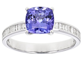 Blue Tanzanite Rhodium Over 18K Gold Ring 1.89ctw