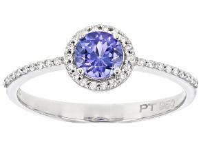 Blue Tanzanite Platinum Ring 0.61ctw