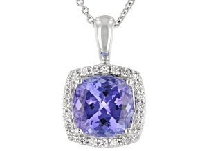 Blue Tanzanite Rhodium Over 14K White Gold Pendant With Chain 2.34ctw
