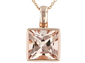 Pink Morganite 14K Rose Gold Pendant With Chain 4.50ct