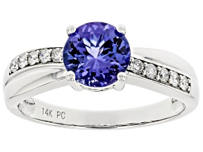 Blue Tanzanite Rhodium Over 14K White Gold Ring 1.40ctw