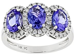 Blue Tanzanite Rhodium Over 14K White Gold Ring 2.30ctw