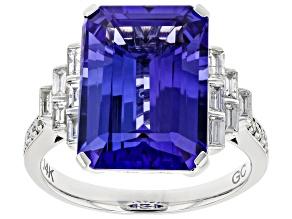Blue Tanzanite Rhodium Over 14K White Gold Ring 7.25ctw