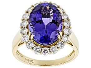Blue Tanzanite 14K Yellow Gold Ring 6.50ctw