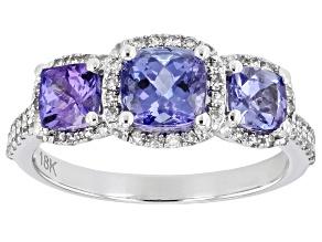 Blue Tanzanite Round White Diamond Rhodium Over 18K White Gold Ring 1.70ctw