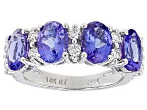 Blue Tanzanite Rhodium Over 14K White Gold Ring 3.50ctw