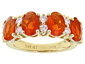 Orange Mexican Fire Opal 14K Yellow Gold Ring 2.10ctw
