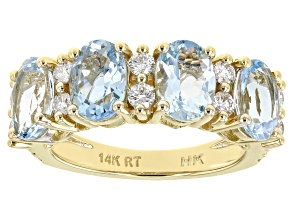 Blue Aquamarine 14K Yellow Gold Ring 3.00ctw
