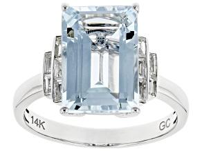 Blue Aquamarine Rhodium Over 14K White Gold Ring 3.82ctw