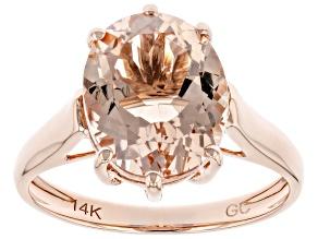 Peach Morganite 14K Rose Gold Solitaire Ring 3.00ct