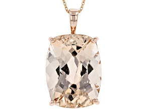 Peach Morganite 14K Rose Gold Solitaire Pendant With Chain 17.00ct