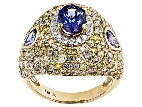 Blue Tanzanite 14K Two Tone Gold Ring 4.35ctw